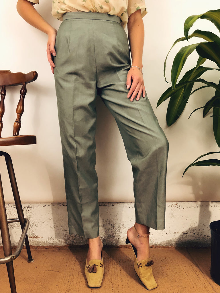 "Vintage Muted Green Trousers (25"")"