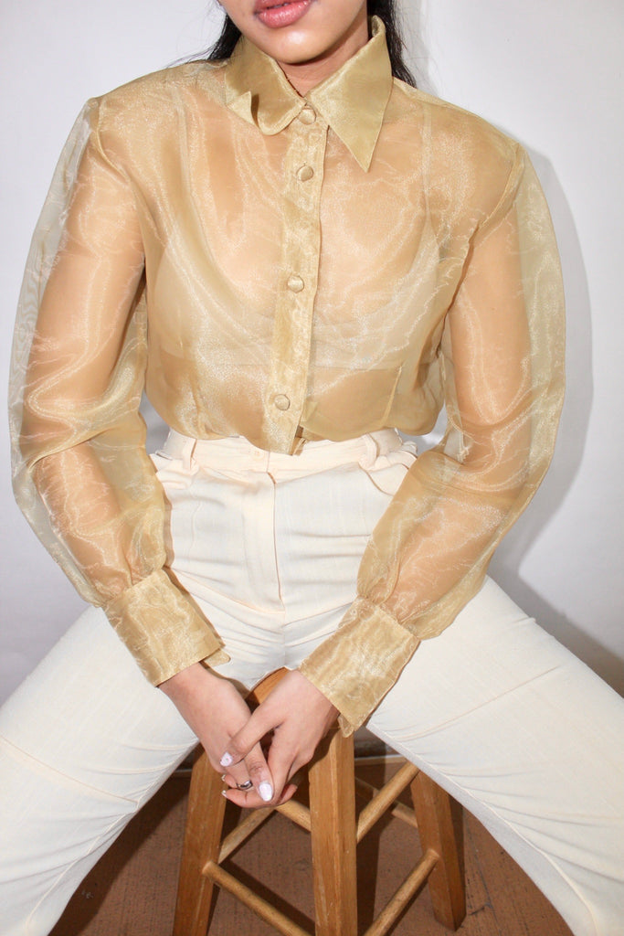 Vintage Silk Golden Organza Blouse (M)