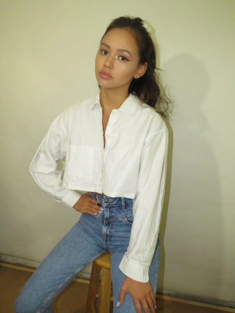 Vintage Cropped Shirt with Matching Scrunchie (S-L)