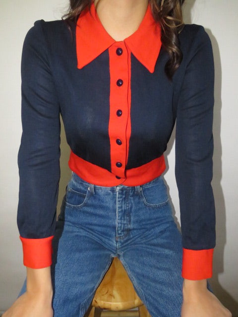 Vintage 60s Contrast Cropped Knit (XS-S)