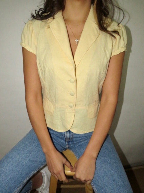 Vintage Banana Puff Sleeve  Linen Top (S)