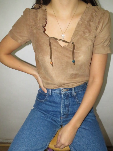 Vintage Chocolate Suede Tie Blouse (XS-S)