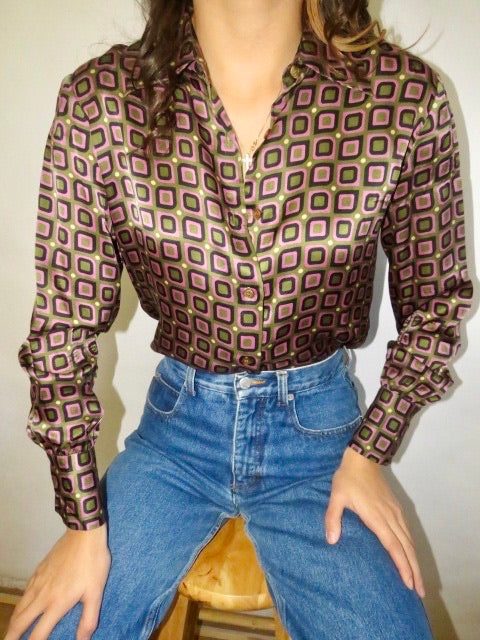 Vintage 70s Eclectic Silk (S)