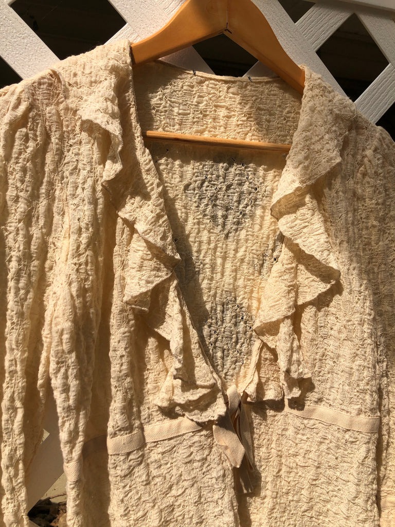 Vintage Lace Ruffled Tie Blouse (S/M)
