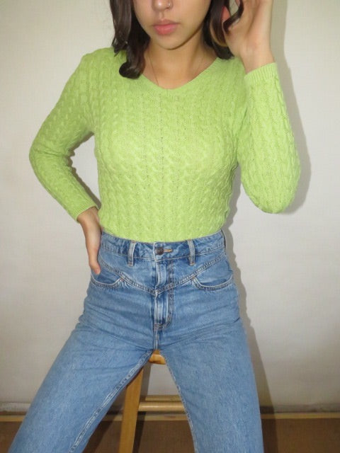 Vintage Lime Cableknit (XS-S)