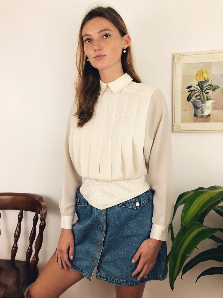 Divine Pleated Mock Neck Blouse