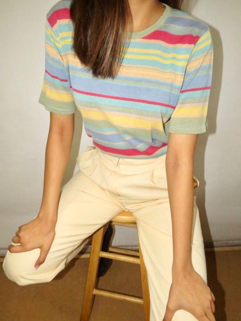 Vintage 80s Striped Silk Knit (S-M)