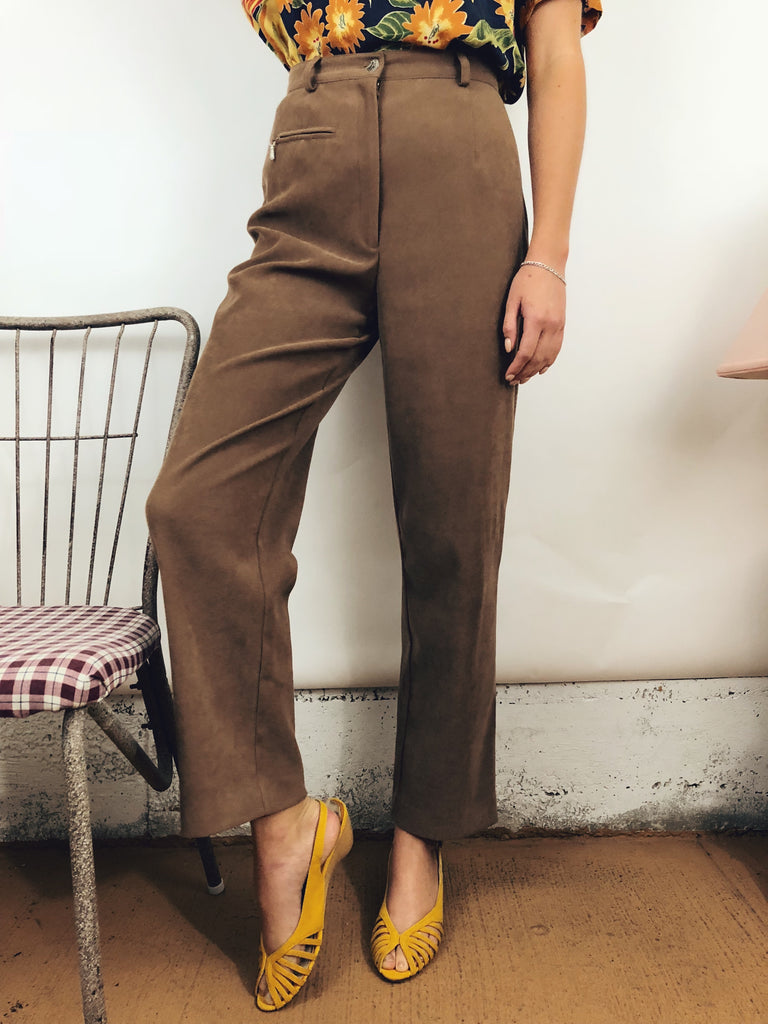 "Textured Chocolate Trousers (25""-26"")"