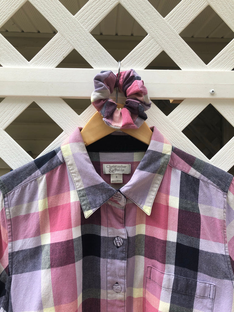 Custom Cropped Plaid Top with Matching Scrunchie (XS/S)