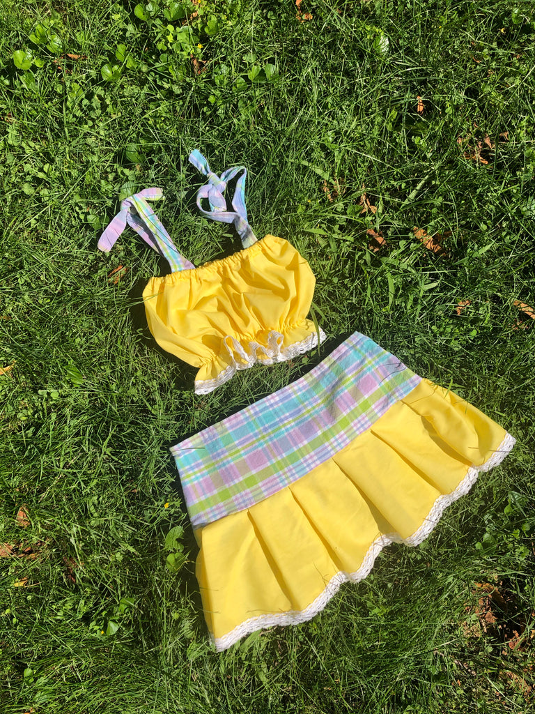 The Playground Set— Lemon Plaid Print