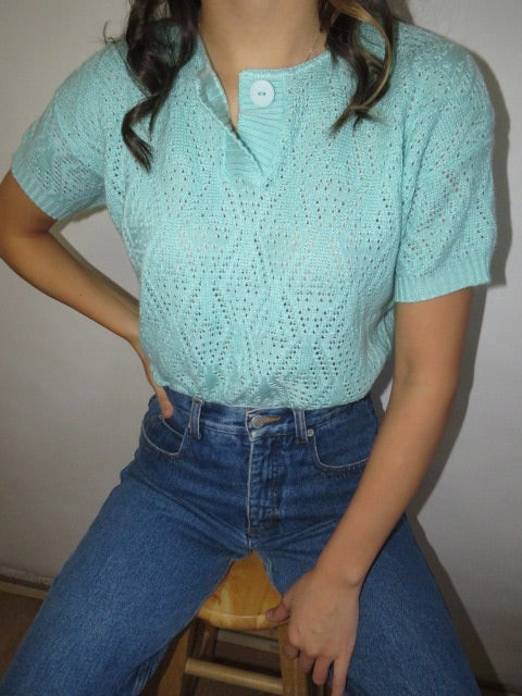 Vintage 70s Short Sleeve Knit (S)