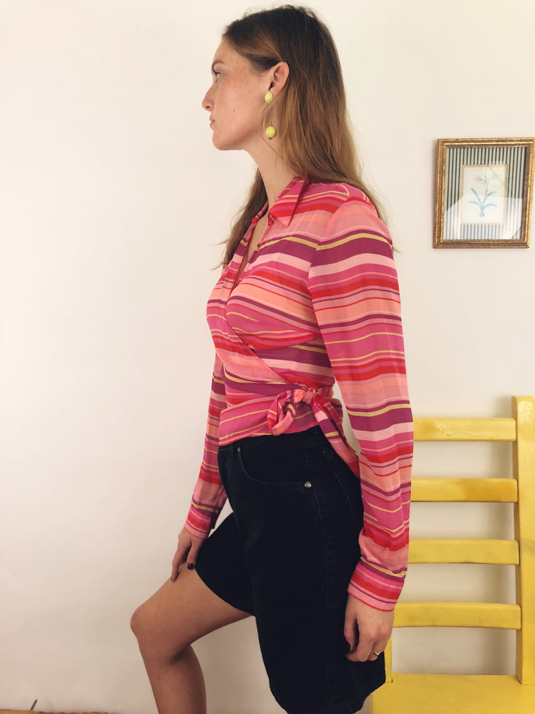 Striped Silk Wrap Top