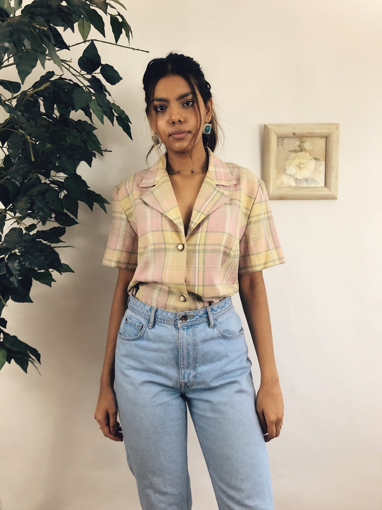 90s Checked Short Sleeve Blazer