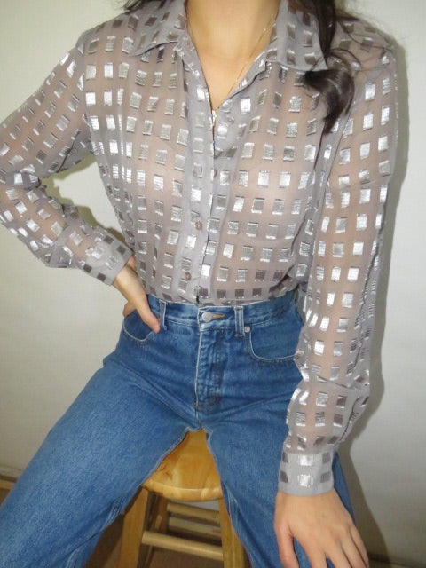 Vintage Retro Checkered Blouse (S-M)