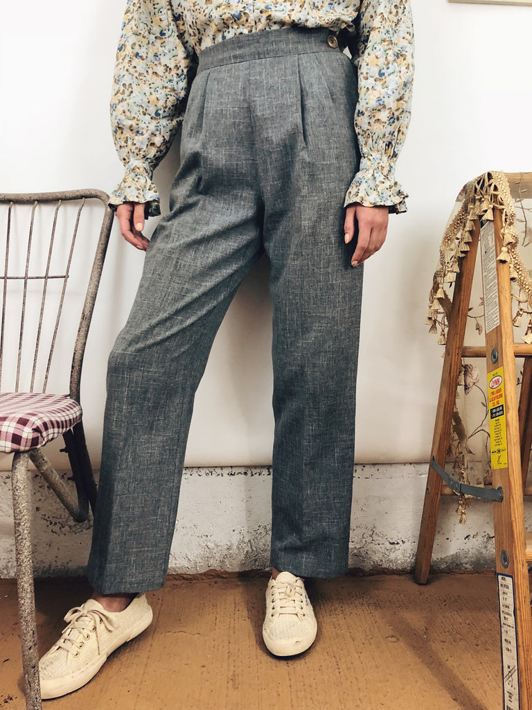 Vintage Pleated Grey Trousers
