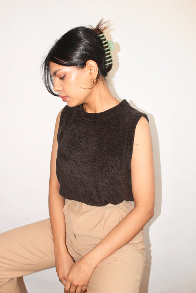 Vintage Chocolate Crushed Velvet Knit (M)