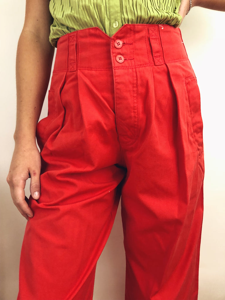 "Vintage Construction Tomato Cropped Trousers (26-27"")"