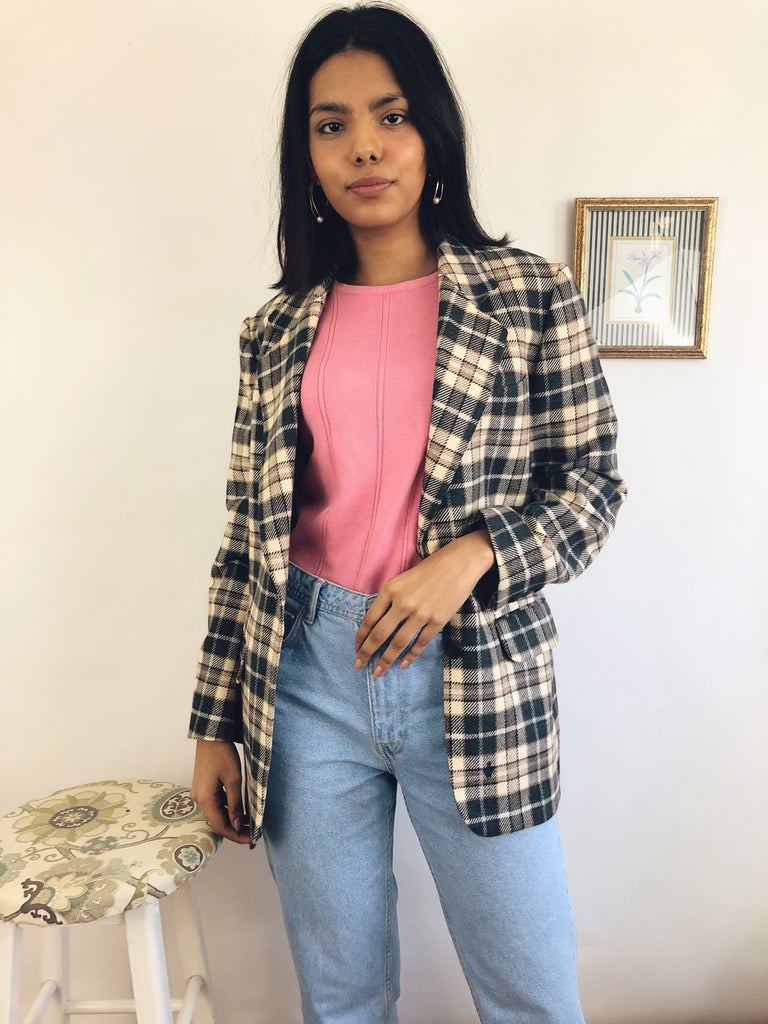 Vintage Checked Wool Blazer