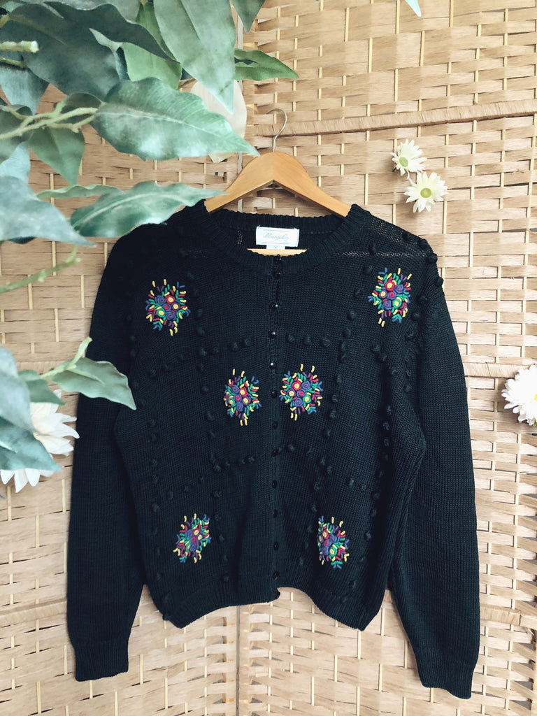 Vintage 70s Beaded Knit Cardigan