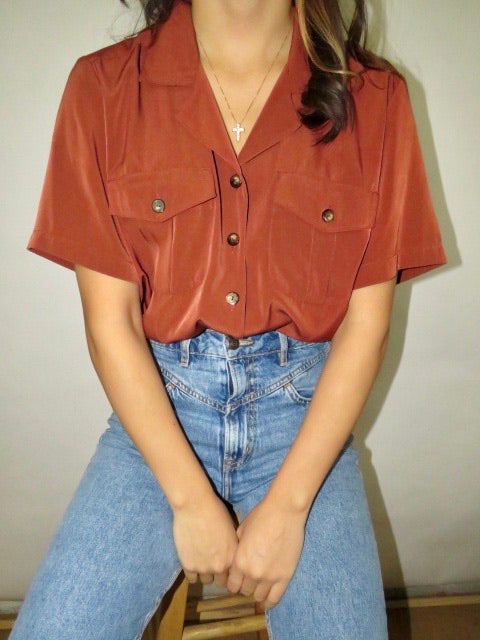Vintage Milk Chocolate Blouse (M)