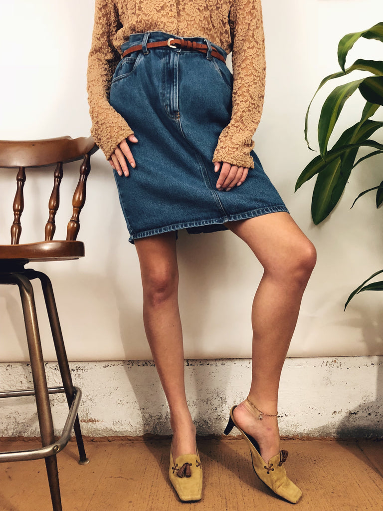 "Cotton Denim Mom Skirt (30"")"