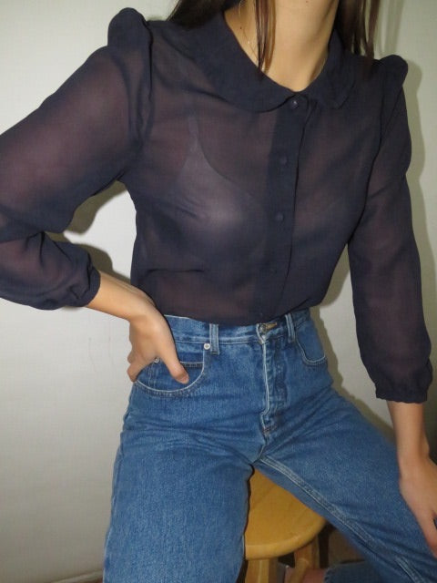 Vintage Silk Dainty Collared Blouse (XS-S)