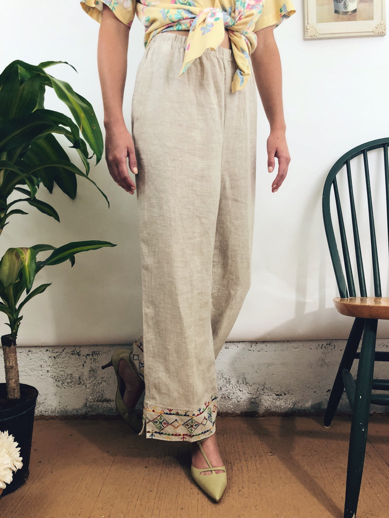 "Embroidered Linen Trousers (28""-30"")"