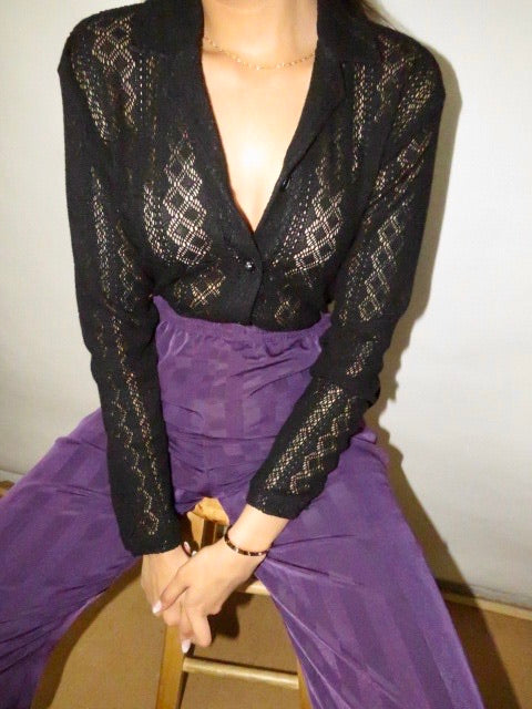 Vintage 90s Sheer Knit Blouse (S)
