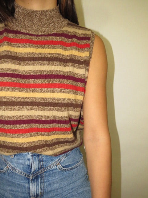 Vintage Striped Mock Neck (M)