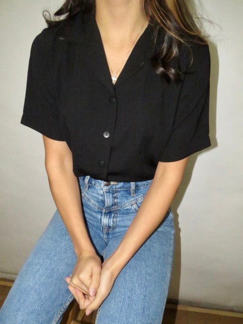 Vintage Short Sleeve Blouse (S-M)