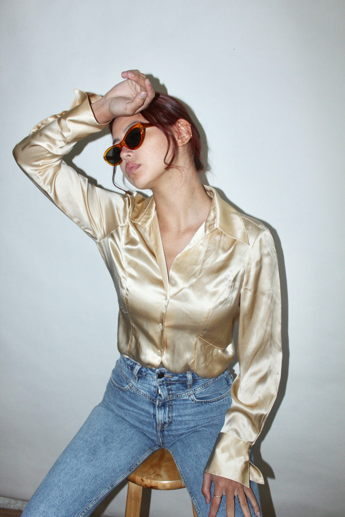 Vintage Golden Silk Button Up (S-M)