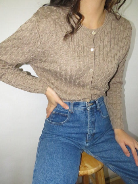 Vintage Taupe Ribbed Silk Knit (M)