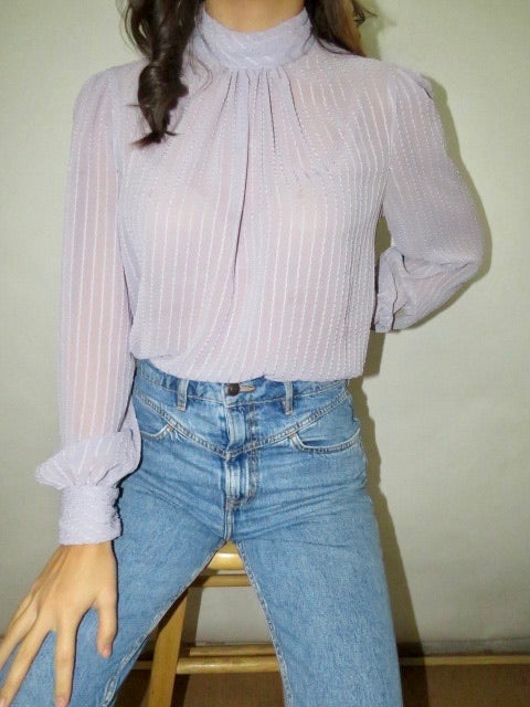Vintage Lilac Sheer Swirl Blouse (S)