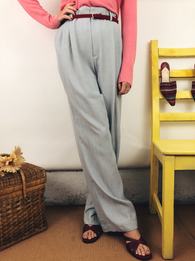 "Pale Blue Wool Trousers (28"")"