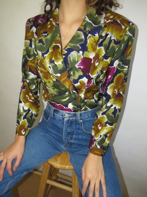 Vintage Double Breasted Brushstroke Blouse (M)