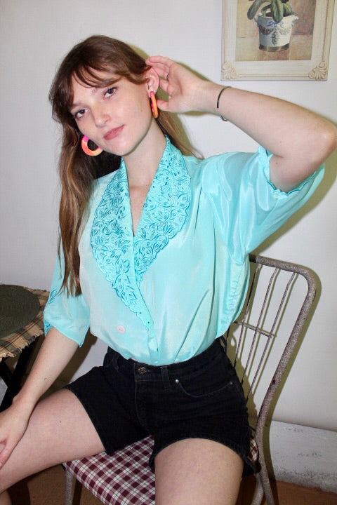 Ornate Vintage Turquoise Top