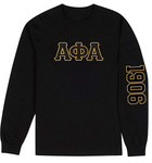 Alpha Phi Alpha Fraternity Long Sleeve With Embroidered Letters & 1906 Print