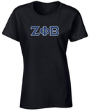 Zeta Phi Beta Embroidered Twill Letter Ladies T Shirt