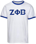 Zeta Phi Beta Embroidered Twill Letter Ringer T Shirt