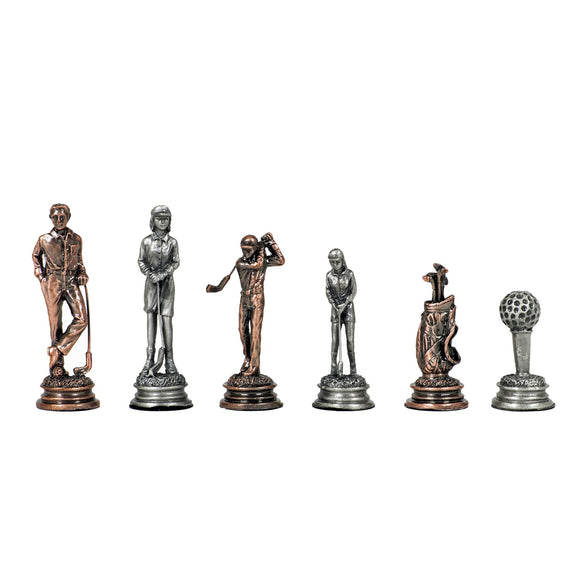 Golf Chessmen - Pewter - American Chess Equipment