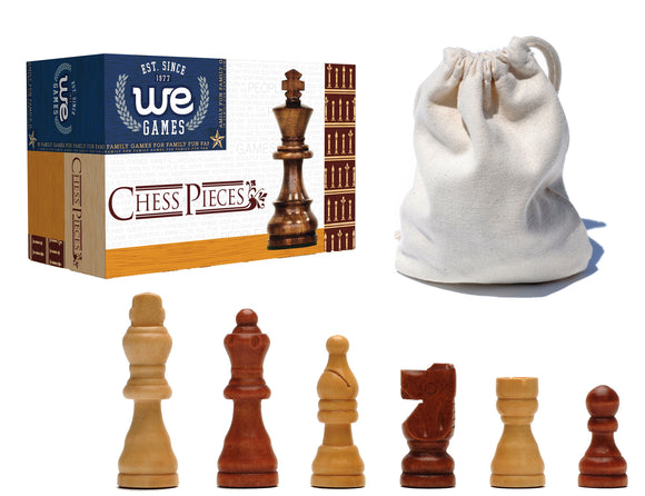 French Staunton Wood Chessmen with 2.5 inch King - American Chess Equipment