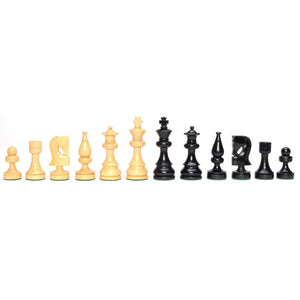 Russian Chessmen – Weighted & Handpolished Black Stained Wood with 3.5 in. King - American Chess Equipment