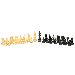Russian Chessmen – Weighted & Handpolished Black Stained Wood with 4 in. King - American Chess Equipment