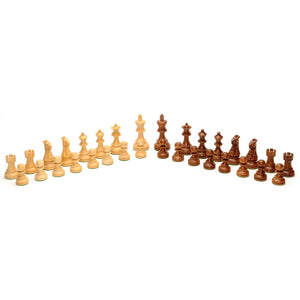 English Staunton Chessmen – Weighted & Handpolished Wood with 3.5 in. King - American Chess Equipment