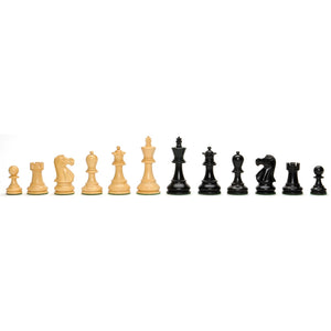 Jacques Chessmen – Weighted & Handpolished Black Stained Wood with 4 in. King - American Chess Equipment