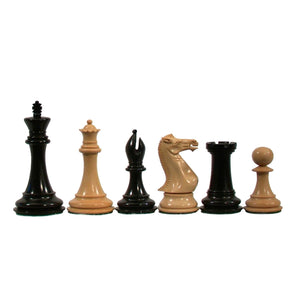 Luxury Staunton Chessmen – Triple Weighted & Handpolished Ebony Wood with Leather Bottoms with 4 in. King - American Chess Equipment