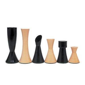 Contemporary Chessmen – Weighted & Handpolished Black Stained Wood with 3 in. King - American Chess Equipment