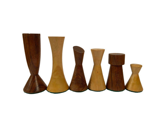 Modern Wood Chess Pieces - Sheesham/Boxwood - 3.5
