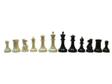 WE Games Triple Weight Tournament Staunton Chessmen - Black & Cream Plastic Set with 3.75 Inch King - American Chess Equipment
