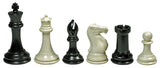 WE Games Super Tournament Staunton Chessmen - Triple Weighted Black & Cream Plastic Set with 4 in. King - American Chess Equipment